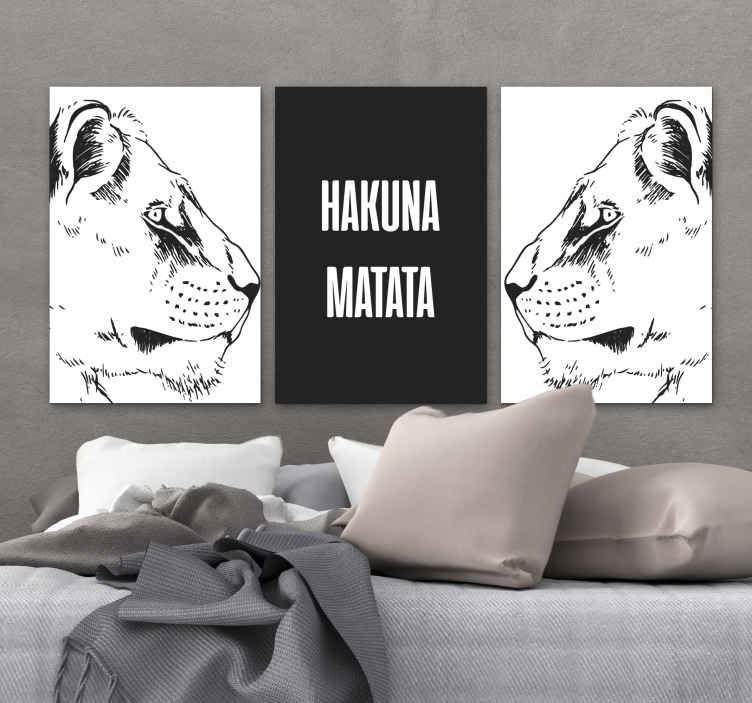TenStickers. Hakuna Matata inspirational canvas. Hakuna Matata motivational canvas - A motivation canvas art inspired by an extract from the famous Hollywood 'lion king' movie.