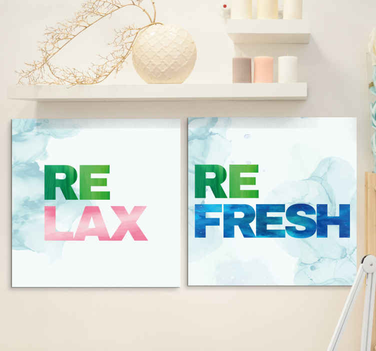 TenStickers. Relax and refresh Bathroom wall art canvas. Relax and refresh bathroom canvas art to create a cozy and calm atmosphere on your bathroom. The product is original, easy thang and durable.