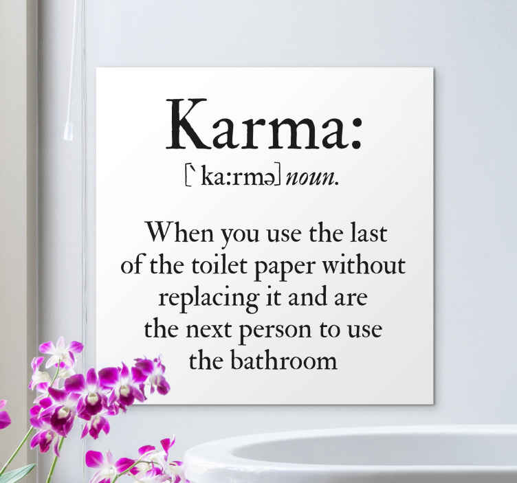 TenStickers. Bath fun karma Bathroom wall art canvas. Funny bathroom canvas wall art with text inscriptions that instruct to replace a toilet paper after use. It is durable and made of good quality.