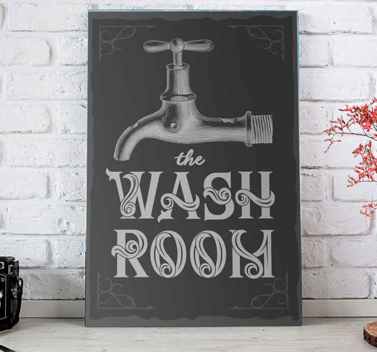TenStickers. Wash room Bathroom wall art canvas. This canvas art print can be decorated on a bathroom, toilet or any other space in a house. It is original, durable and easy to hang.