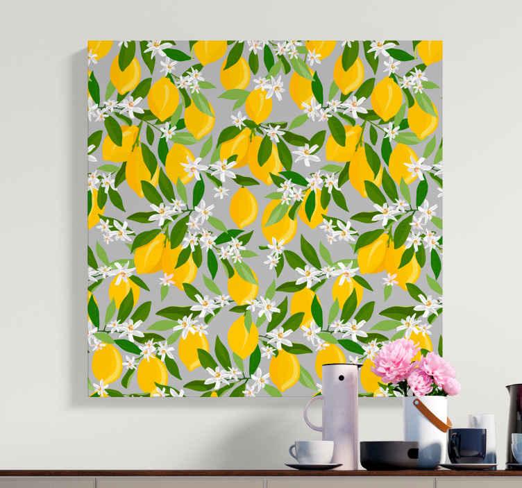 TenStickers. Dipinto frutta e natura morta Modello di albero di limone. Quadri di limone per la decorazione di casa e ufficio. Sarebbe fantastico il tuo spazio con questi quadri di agrumi dall'aspetto dolce.