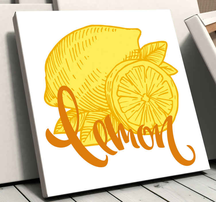 TenStickers. Orange and lemon sketch fruit canvas art. Orange and lemon sketch fruit canvas - Lovely to decorate a kitchen, dinning, restaurant and other space of interest.  Made of quality material.