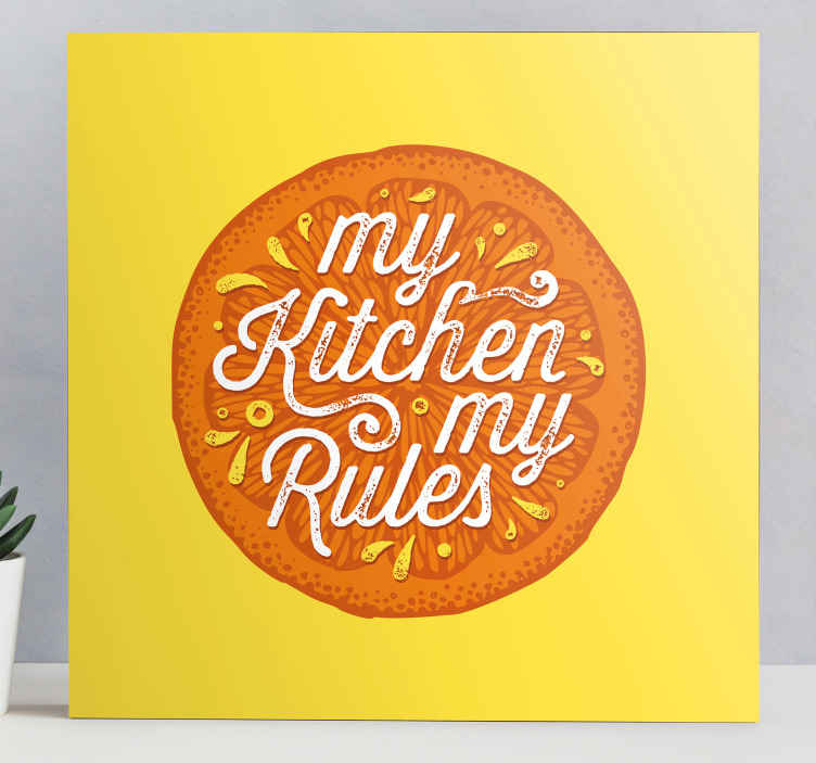 TenStickers. Orange hand draw kitchen fruit canvas art. Orange hand draw kitchen fruit canvas with 'my kitchen my rule' text - Perfect canvas for restaurant, home dinning, kitchen and bar.