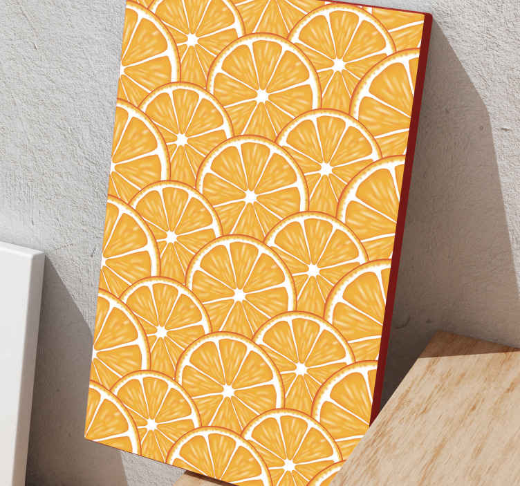 TenStickers. Orange pattern  fruit canvas art. Sliced patterned orange fruit canvas to decorate your kitchen, home or office space giving it a fruity attention. Made with quality material.