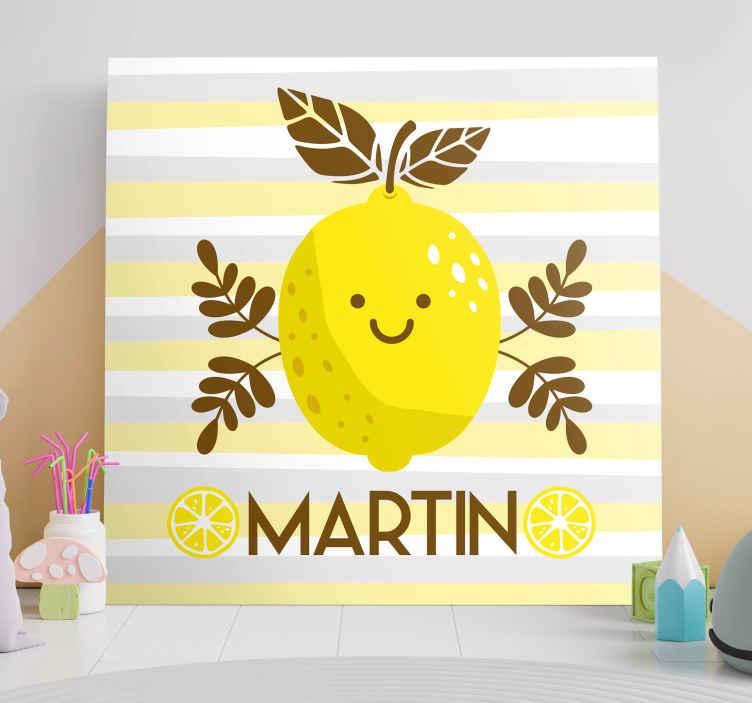 TenStickers. Gepersonaliseerde canvas schilderen Lachende citroenen. Verfrissend en leuk gepersonaliseerd wanddoek! Het stelt een lachende citroen voor met uw gekozen naam eronder! Bestel nu en laat het bezorgen!