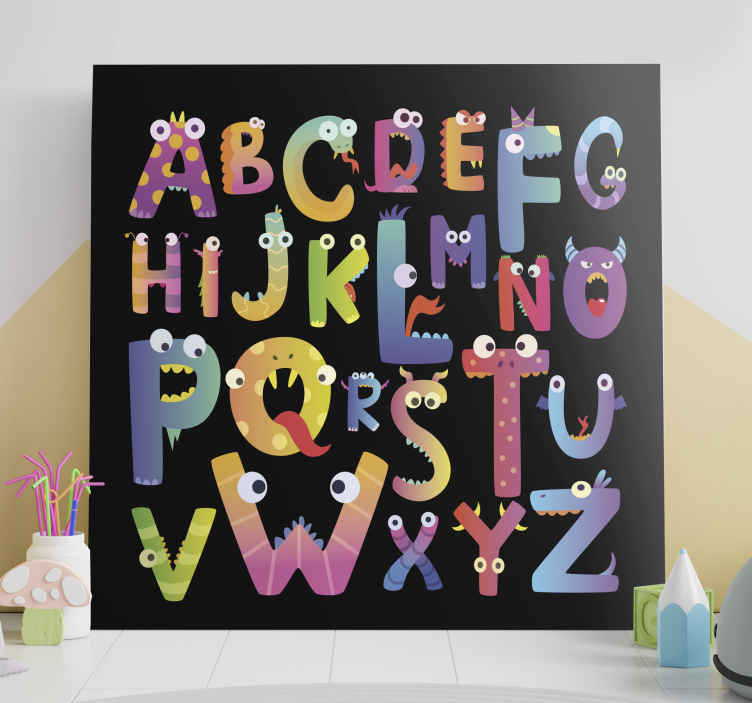 Tenstickers. Lasten aakkoset aakkos kangastaulu. Värikäs lasten aakkoset, joissa on funky-kuvitukset - tämä voidaan sisustaa kodissa, lastentarhassa sekä koti- että ulkotiloissa.