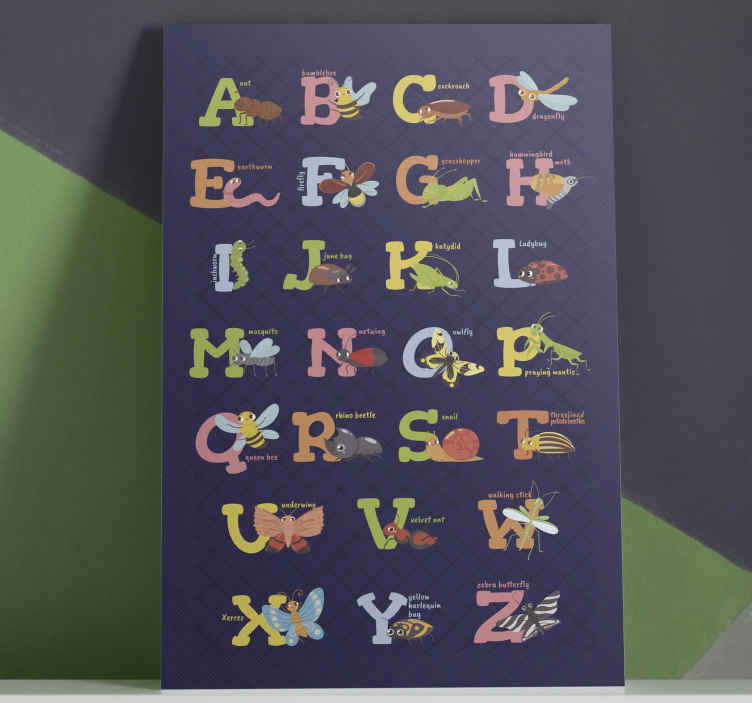 TenStickers. English alphabet Letter Canvas wall art. Pretty English alphabet canvas prints for children.  It illustrates the names of different insects with their letters and complete name.