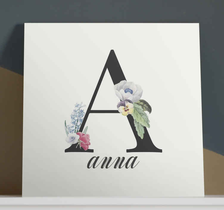 TenStickers. personalised letter Letter Canvas wall art. Add this quote canvas wall art to your cart to receive it in a few days! This design depicts the first letter of a personalised name with flowers.