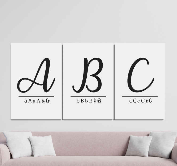 TenStickers. abc decorative letters Letter Canvas wall art. Here we have an amazing canvas home decor that will help you decorating your home. Add it to your cart now to purchase it online!