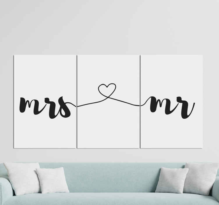 TenStickers. Love letters letter Canvas wall art. Lovey and elegant love lettering of Mr. and Mrs. canvas design inscribed and styled along three canvas. Made of quality and durable.