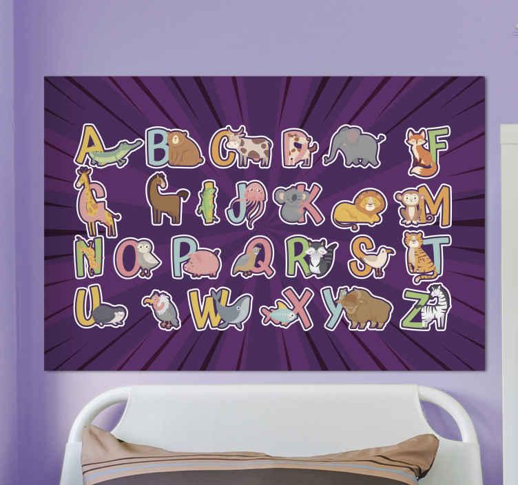 TenStickers. 아이들을위한 동물 영어 알파벳 편지 캔버스 벽 예술. 어린이를위한 알파벳과 편지 캔버스 인쇄. 다채로운 방식으로 문자로 설명 된 동물과 함께 매우 사랑스러운 교육적인 캔버스.