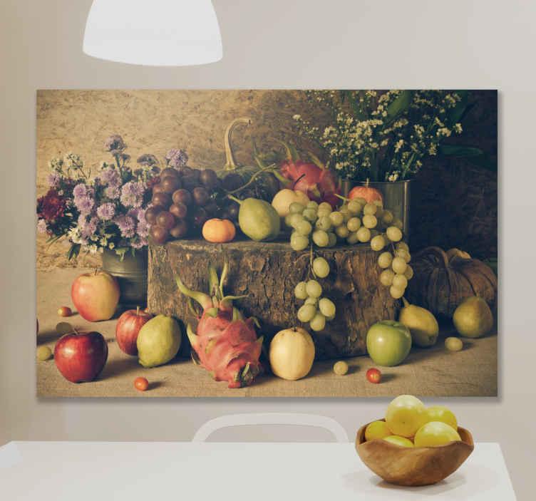 TenStickers. Quadro Decorativo para cozinha Frutas diferentes. Compre nossa incrível arte em tela de frutas para sua cozinha, ela contém imagens de alta qualidade de diferentes ilustrações de frutas. é original e duradouro.
