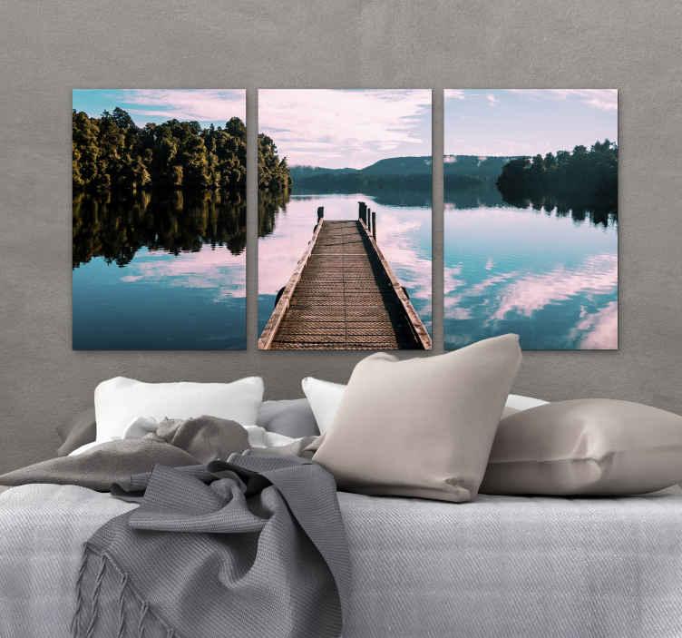 TenStickers. φύση με δέντρα και λίμνη σε καμβά. όμορφη εκτύπωση καμβά υπνοδωματίου με μια όμορφη λίμνη και δέντρα! θα κάνει τη χαλάρωση ευκολότερη! παραδόθηκε απευθείας στο σπίτι σας από εμάς!