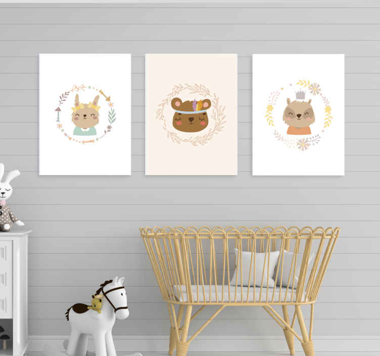 TenStickers. Animal children's bedroom canvas art. Animal children's bedroom wall prints - Cute canvas for baby nursery space, bedroom, etc. It comes pre-assemble, so it is really simple to hang.