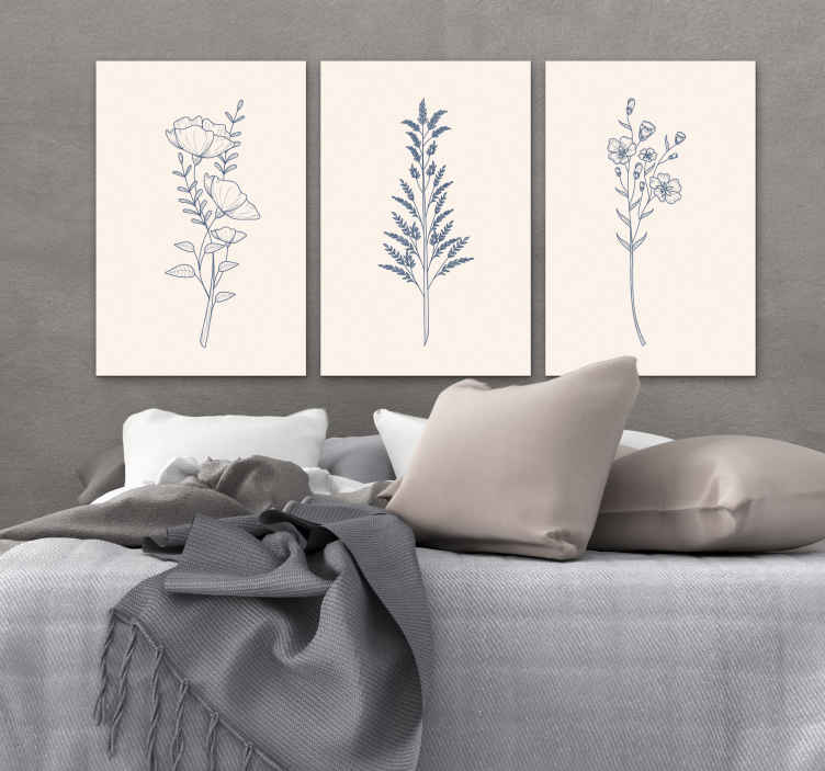 TenStickers. Bedroom flowers bedroom canvas art. If you are looking for a very soft and soothing bedroom wall canvas art for your space, you can consider having this flower canvas for your space.