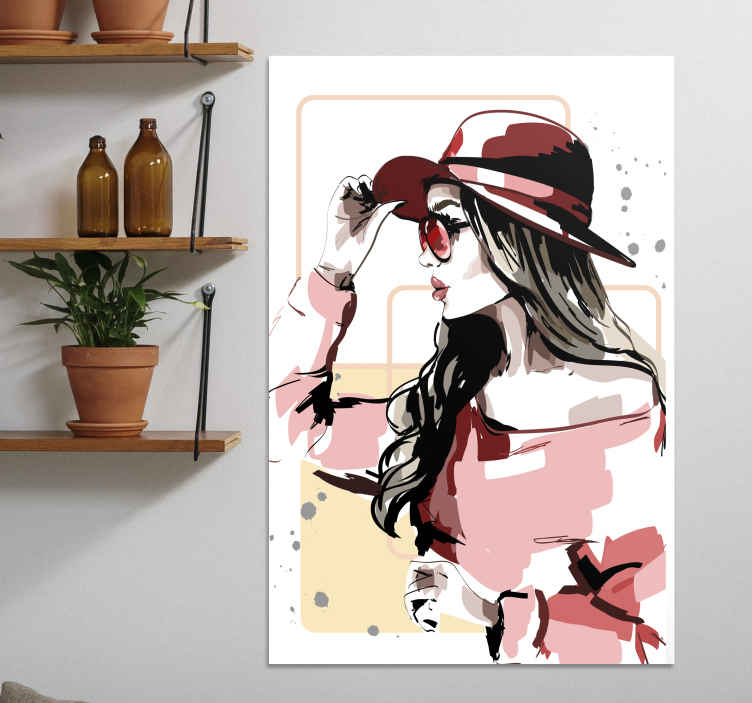 TenStickers. Elegant Woman with a hat canvas print. A beautiful girl wearing a chic hat on an art canvas print, will add style to any room! Different sizes available with home delivery!