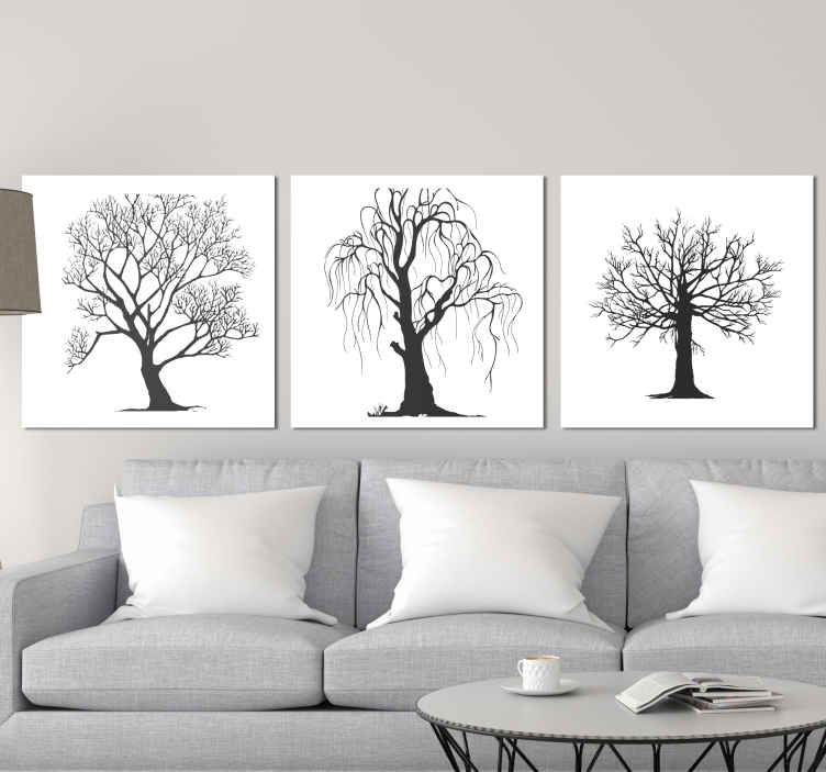 TenStickers. Different trees wall prints for living room. If you love the feel and aura that comes with winter and leaves shedding off from trees then you should buy this different winter tree canvas art.