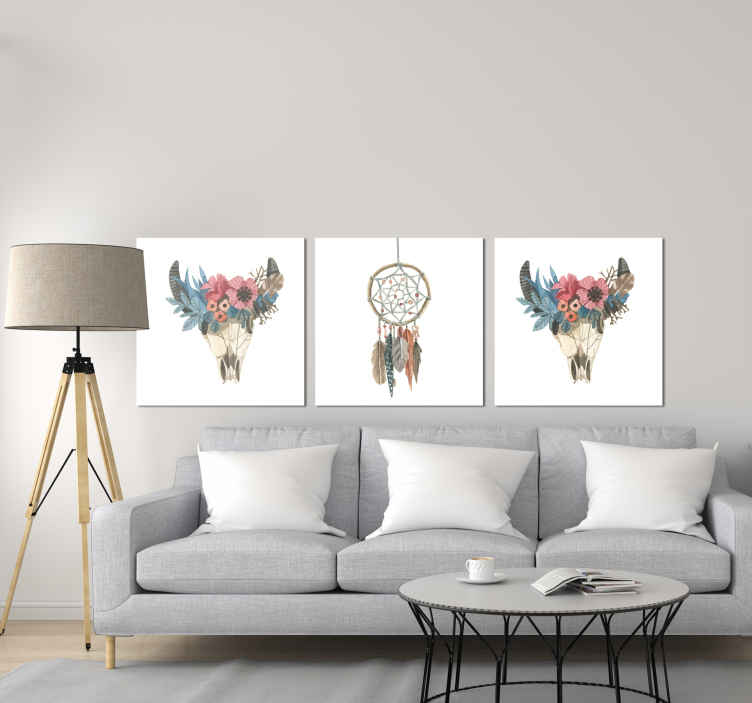 TenStickers. arte tribal wall prints for living room. Vintage wall prints with a dreamcatcher design on a white background, ideal for you to decorate your home, dining room, living room.