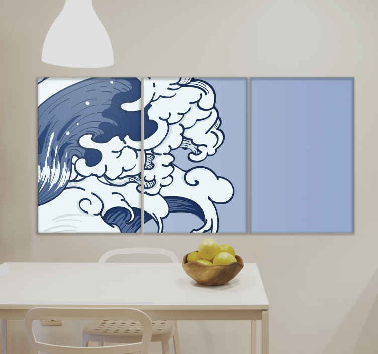 TenStickers. Oh, Kanagawa wall prints for living room. Kanagawa canvas pictures art for your home decoration. The three home canvas art design illustrates the symbolic great wave of Kanagawa.