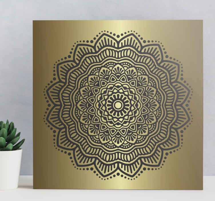 TenStickers. Mandala Hall canvas prints. An ornamental elegant golden mandala canvas art. With this canvas on any space you would be transforming the space with a luxurious look.