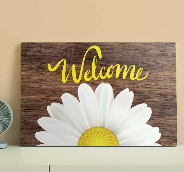 TenStickers. floral welcome Hall canvas prints. Very classic and showy canvas home decor very beautiful and with vivid colors that will always make you fell really welcome