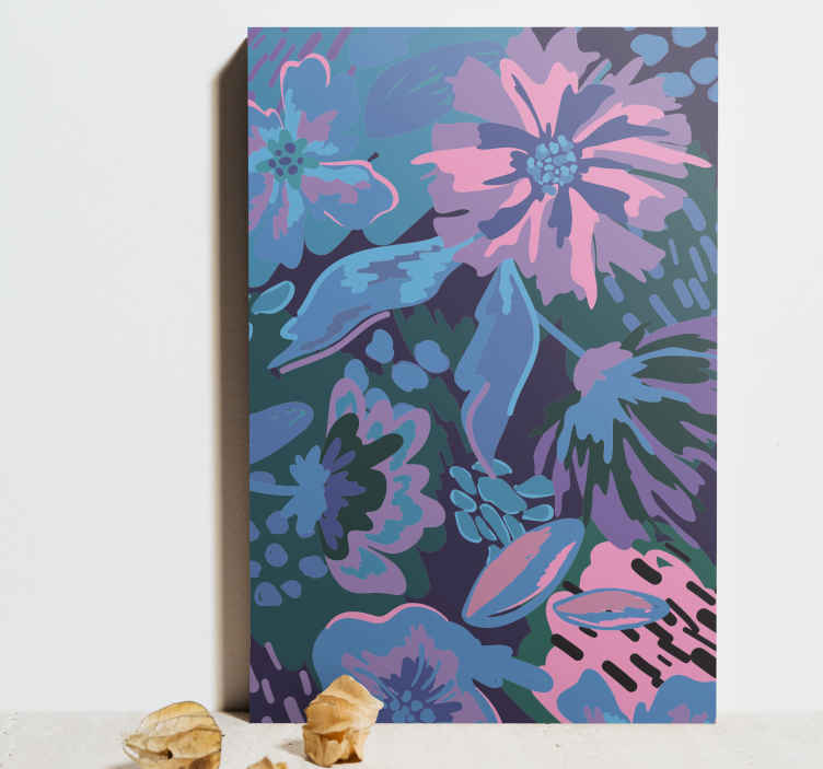 TenStickers. Floral abstract Entrance hall canvas print. The dominating, beautiful colours of blues, purples and pinks, mixed together to create a picture of flowers with an abstract finish. Order now!