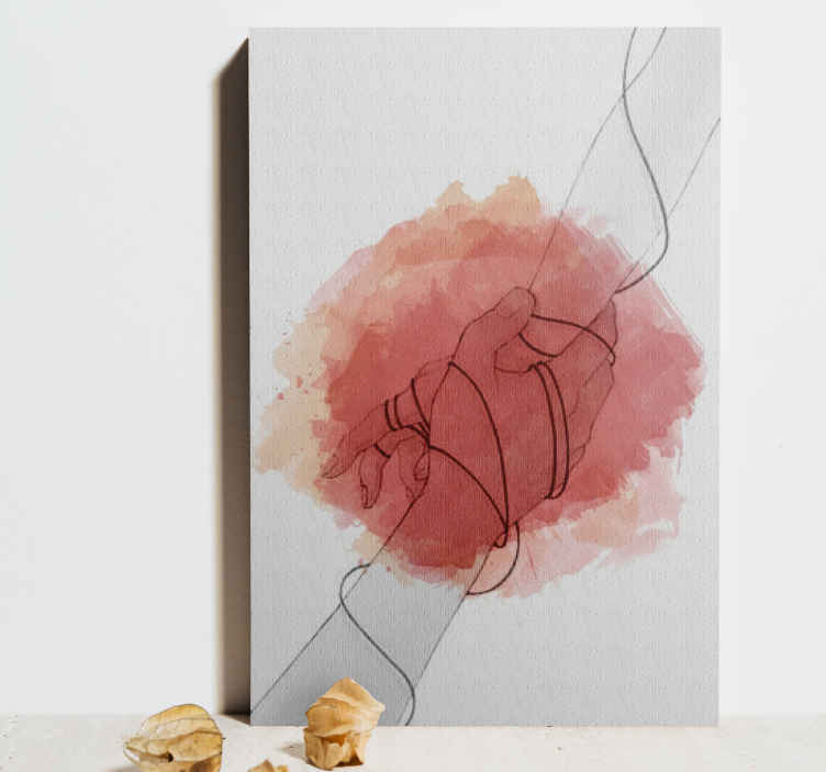 TenStickers. Holding hands Hall canvas prints. Beautiful abstract home canvas art with the drawing illustration of two hands holding  themselves. Fast home delivery when purchase from us.