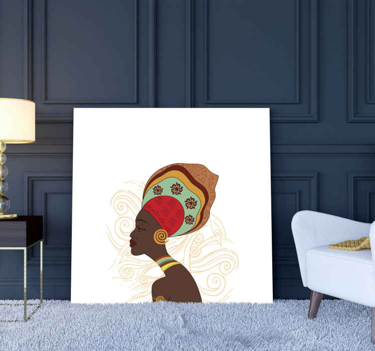 TenStickers. Modern Africa Office canvas art. A modern canvas art design illustrating an African women with her tribal costume. It is printed in quality finish and durable.