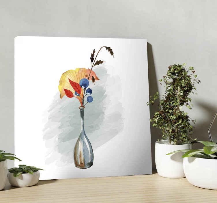 TenVinilo. Cuadro para despacho jarro de flores. Cuadro artístico de jarro de flores hecho con material original y la calidad de la imagen es de primera categoría ¡Descuentos disponibles!