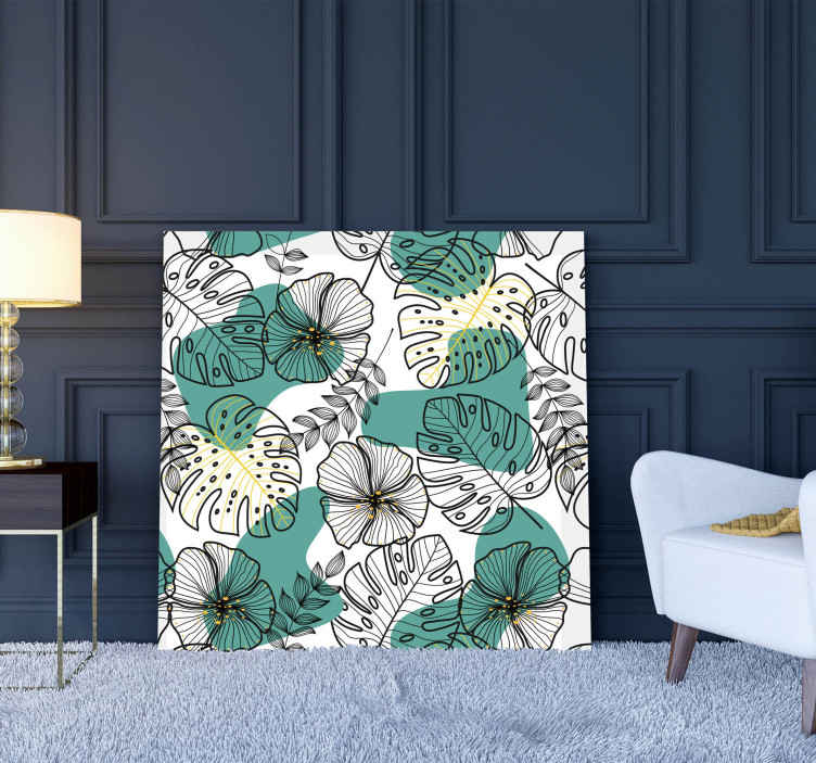 TenStickers. Floral office canvas art. Flower pattern canvas art print for home decoration. It also suit to decorate other places such as office, business place, etc.