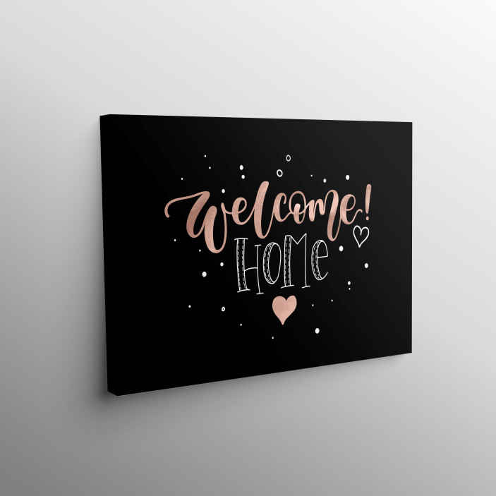 TenStickers. Welcome Home Heart Hall canvas prints. Entrance canvas which  features the text 'welcome home' surrounded by small dots and with a big heart in the centre. Custom made.