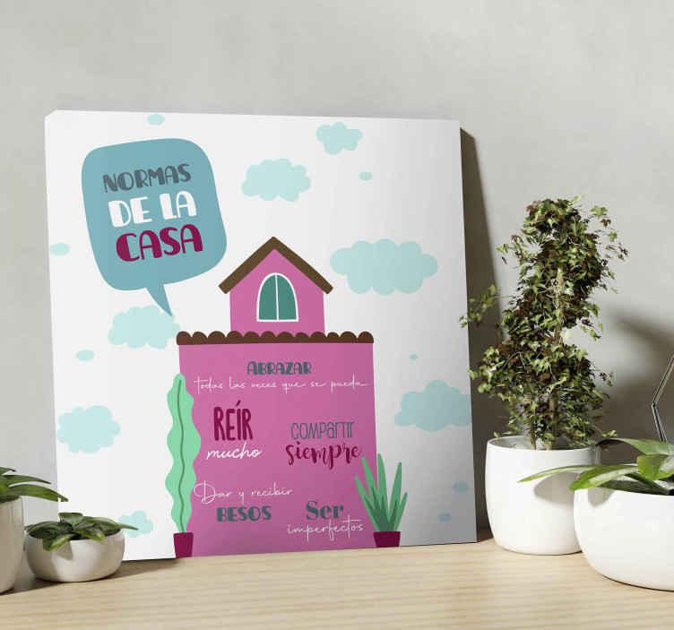 TenVinilo. Cuadro para recibidor reglas de casa. El cuadro recibidor de reglas de la casa se presenta con el dibujo de diseño de una casa con nubes en el fondo será ideal ¡Envío exprés!