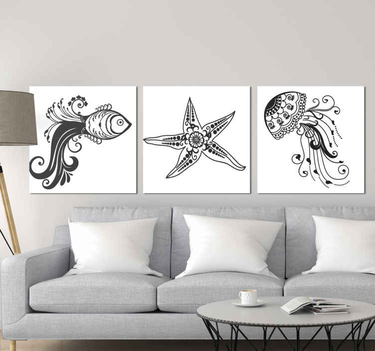 TenStickers. Ornamental sea life fish canvas art. Ornamental sea life animal canvas for living room, dinning, office and other common space decoration. Get a fast delivery when you purchase it.
