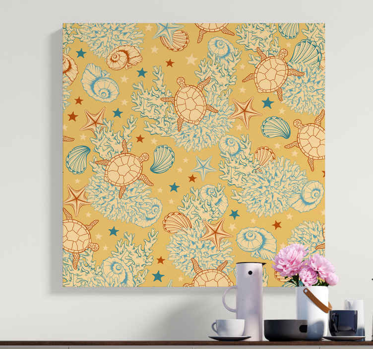 TenStickers. Undersea Life Soft Colours Sea life canvas wall art. Beautiful sea life canvas art  to give your space a little attraction of what it looks like under the sea. Design contains sea turtle, starfish, snail.