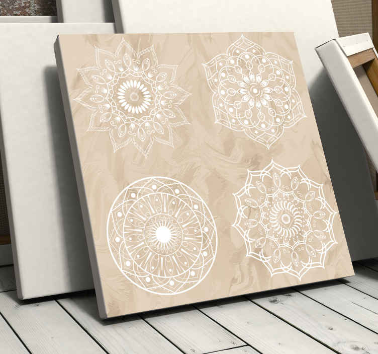 TenStickers. four beige mandala print wall art. A vintage effect mandala canvas wall art - Perfect to decorate any space in your home, for office, business and other space.