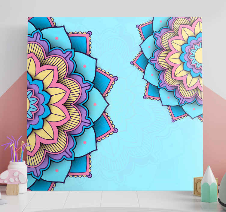 TenStickers. Two colorful patterned mandala print wall art. Two colorful  patterned mandala canvas wall art - Imagine the elegance this canvas design would install on your space. Original and durable.