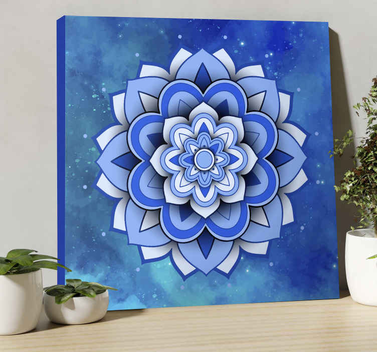 TenStickers. Mandala floral blue mandala print wall art. Mandala floral blue mandala canvas wall art - One piece you should have sitting pretty on your space, perfect for common spaces.