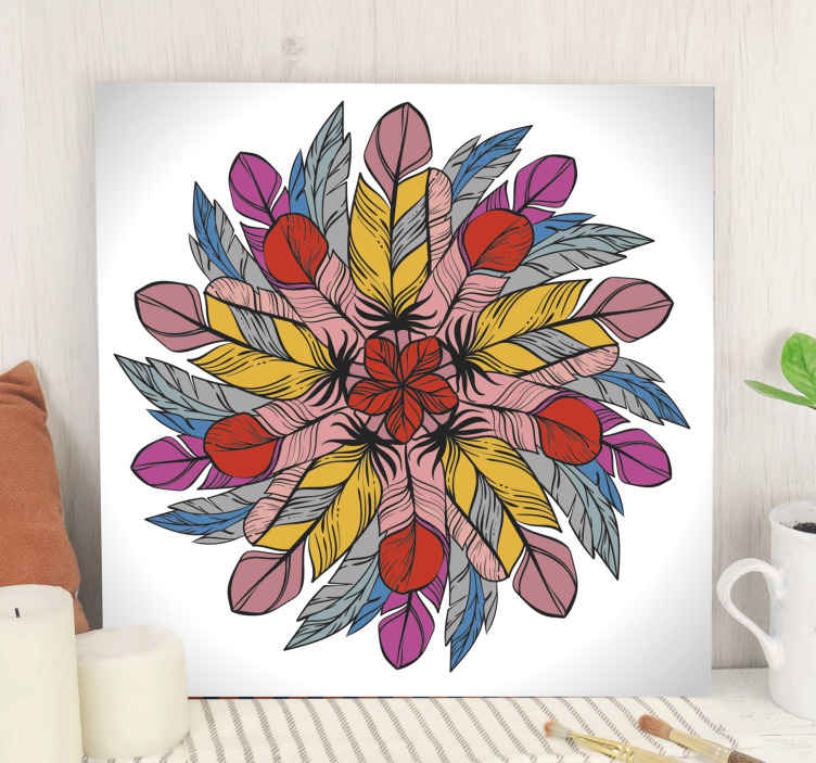 TenStickers. Mandala made of feathers mandala print wall art. Really pretty feather mandala canvas art for your home decoration. The canvas design is created on white background and this looks so amazing.