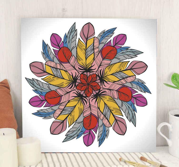 TenStickers. Mandala lavet af fjer mandala print væg kunst. Virkelig smuk fjer mandala lærredskunst til dit hjem dekoration. Lærreddesignet er skabt på hvid baggrund, og det ser så fantastisk ud.