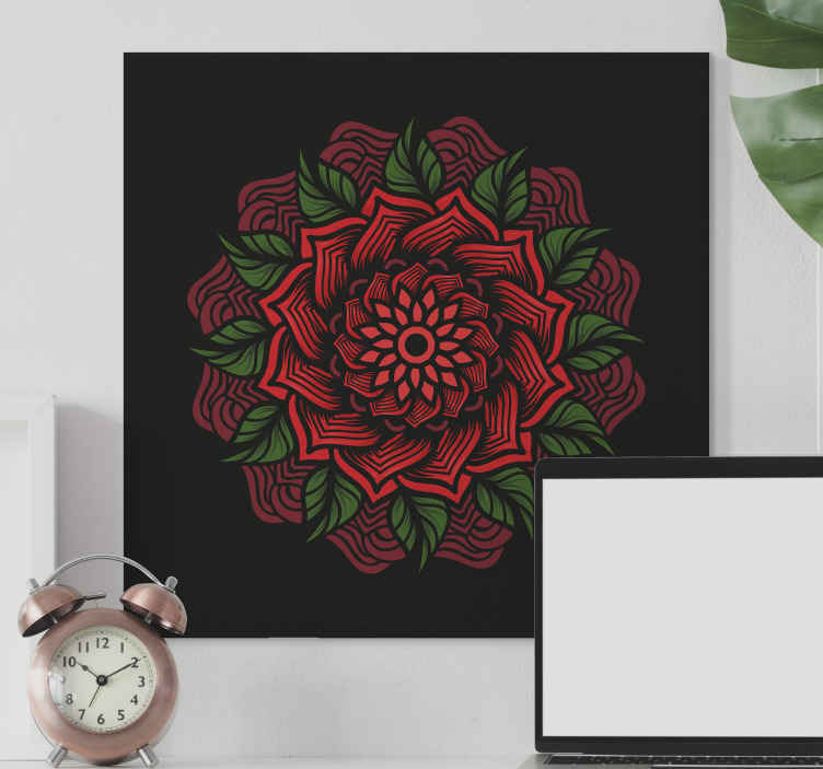 TenStickers. Rose themed mandala mandala print wall art. Rose themed mandala mandala canvas wall art - An amazing canvas decoration for your home and other spaces. Made of quality.