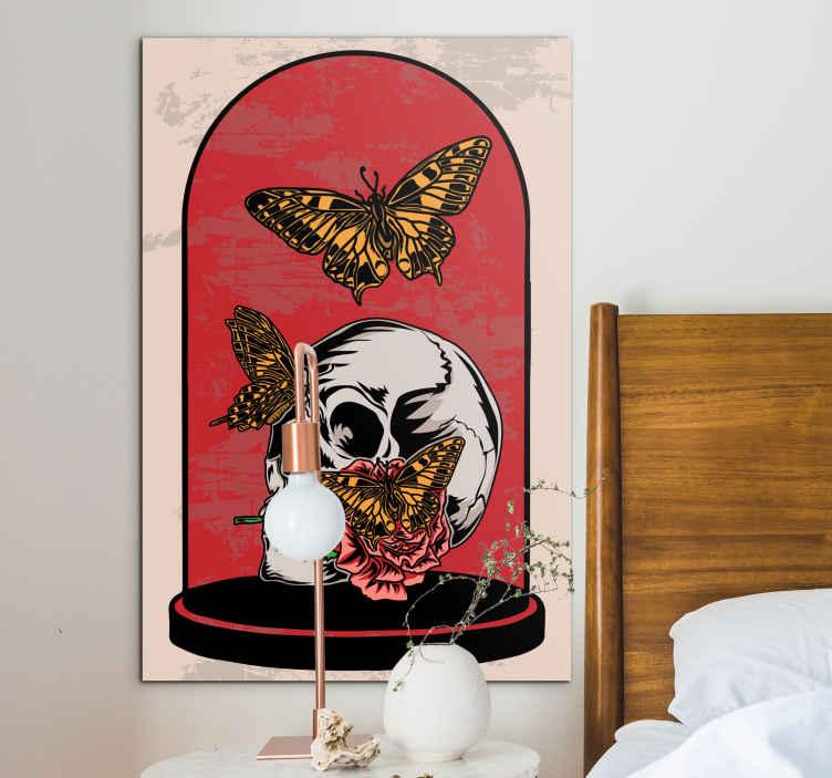 TenStickers. χρόνος πετάει πεταλούδα εικόνα καμβά. Τοιχογραφία πεταλούδας με την απεικόνιση των πεταλούδων γύρω από ένα κρανίο, σε ροζ φόντο ιδανικό για να το τοποθετήσετε στον τοίχο του δωματίου σας.