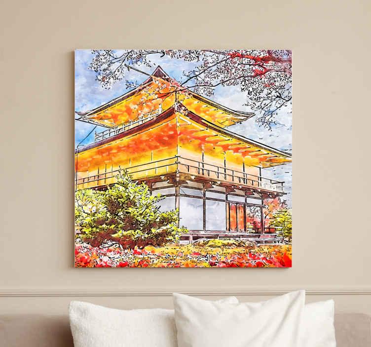 TenStickers. 日本开花的树木城市天际线打印. 乡村画布上有日本开花树木的插图,非常适合您装饰墙壁,它将为您的家带来安宁感。