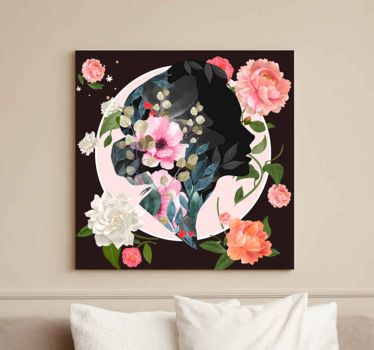 TenStickers. Spring bloom art canvas art. Canvas art with the design of many spring flowers illustrated in a very artistic way to give a natural, artistic and classic touch to the decoration.