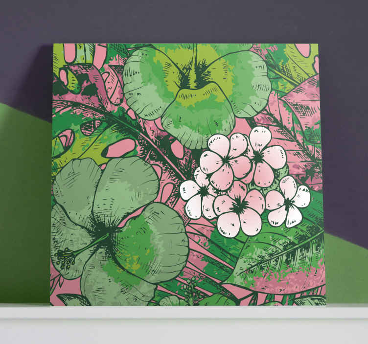 TenStickers. motivos florales hallway wall art canvas. This superb canva home decor with floral print filled with multicolored thoughts.  A decorative plant canva print that will fit in all your rooms.