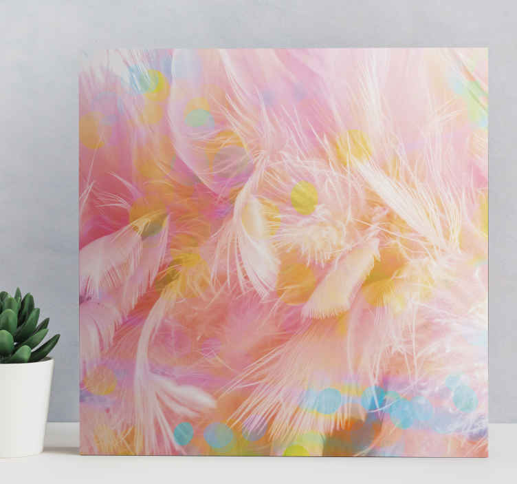 TenStickers. plumas colores hallway wall art canvas. Design canva with pink feathers. This wall animal print canva will be ideal to decorate your home, your office while bringing a colorful touch.