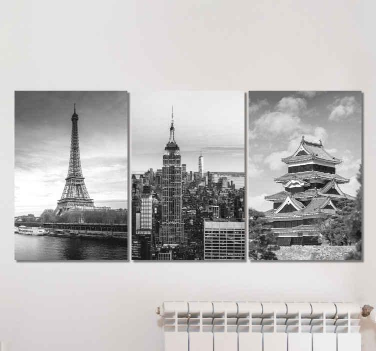 TenStickers. Város helyek folyosó fal művészeti vászon. Városok skyline vászon fal művészet. Gyönyörű fekete-fehér vásznak különböző városok mérföldkő illusztrációival. Ez a fakulás és a tartósság bizonyítéka.