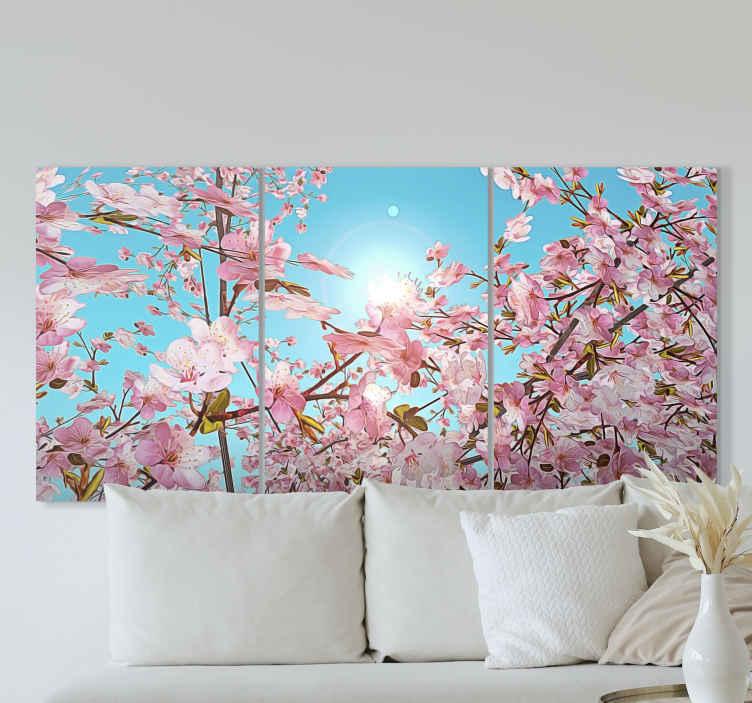 TenStickers. Obraz na plátně třešeň na modrém pozadí. Tento velmi dokonale vypadající produkt na šířku na plátně vydrží u vás doma velmi dlouho! Kupte si tento perfektní produkt hned teď!
