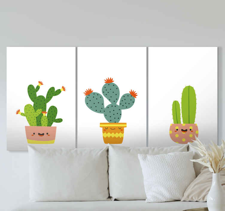 TenStickers. Scandinavian cactus Plant wall prints. What could be a better gift to give to yourself or someone you know than this cute scandinavian cactus canvas print design? Home delivery!