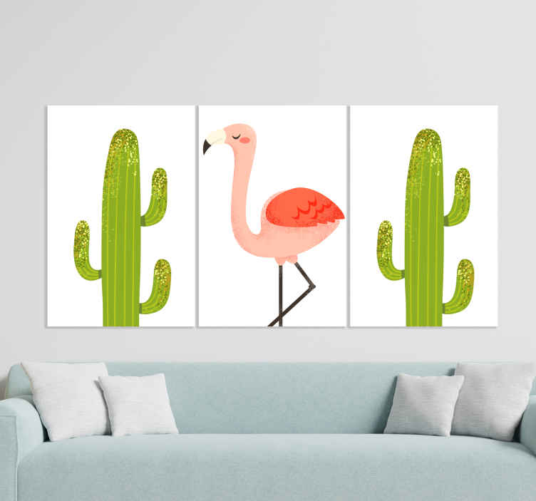 TenStickers. Nordic cactus and flamingo Plant wall prints. An elegant cactus and flamingo plant canvas picture for living room, office canvas art and for decorating any other space.
