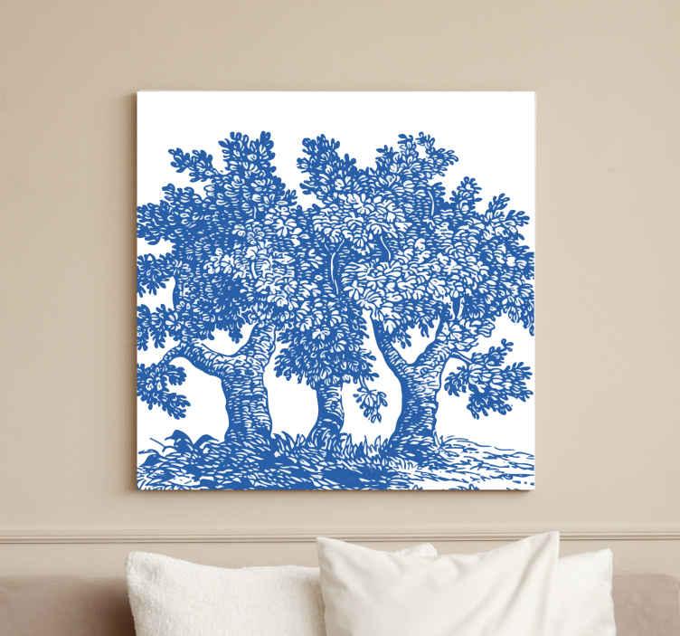 TenStickers. Kék mágia fa vászonkép. Lenyűgöző kék mágikus fa fal művészeti vászon a fa fal vászon nyomat gyűjteményéből. Tartós, könnyen elhelyezhető a falon és nem fakul